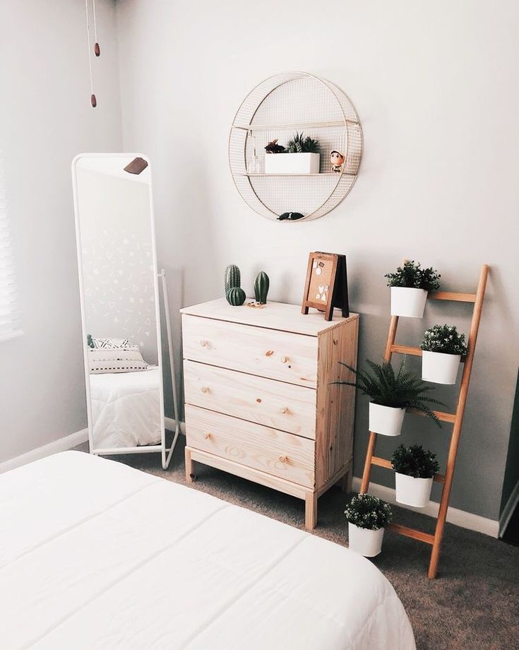 Cute Bedroom Set Up With Wooden Dresser Simple Mirror And Plant Gorgeous Cute Bedroom Set Decoration