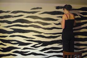 Zebra painted wall. This is cool! My sister in law would love this