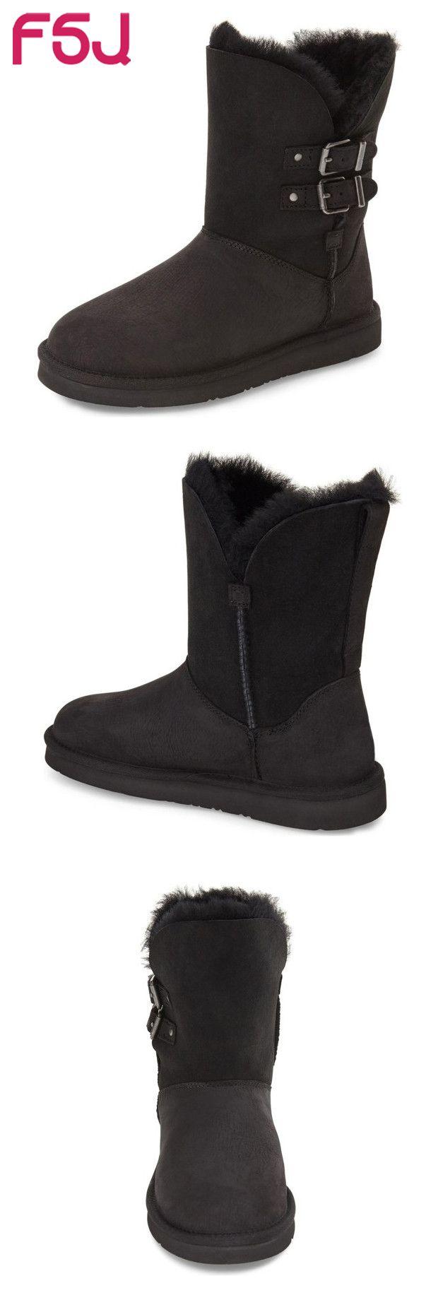 #FSJシューズ# #fsjshoes# レディース靴 黒・ブラック 。゚゚。゚。雪ダ(*´艸`)ε3。゚ε3。゚゚。゚。 冬靴 スノーブーツ【Snow Boots】 スエード ウィンタブーツ 防寒ブーツ FSJシューズ バックル飾り付き 耐久性が高い~