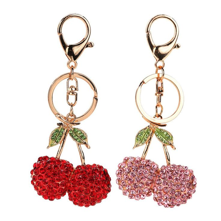 Hot Cherry Oxheart Leaves New Cute Crystal Charm Purse Handbag Car Key Keyring Keychain Party Wedding Birthday Gift