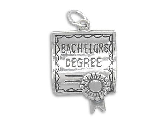 Bachelors Degree Charm Pendant Made of 925 Sterling Silver Approx Size 25mm x 16mm Comes with a Jump Ring: a circular ring which has an