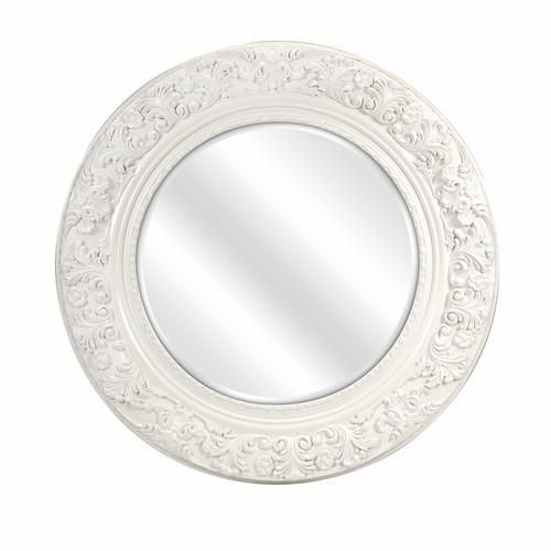 """Features: Dimensions: 39.5""""h x 39.5""""w x 3.25"""" Color: Antique White Constructed of quality materials Description: Stylize the wall indoors by fixing this appealing round carved mirror. Made from quality materials it will remain in prim condition for many years. It has an antique white finish and thus will look stunning in traditional as well as modern styled homes. The frame of the mirror features beautiful floral patterns. Use the mirror to uplift the look of a plain wall or ..."""