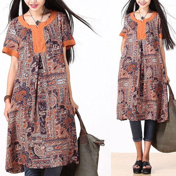 Loose Fitting Cotton Long Shirt Blouse for Women Short Sleeved Women Clothing - Women Dress