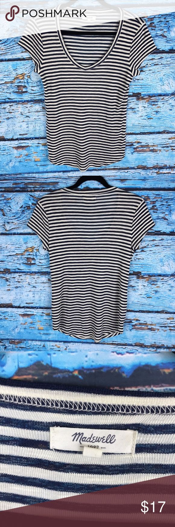 Madewell Nautical V Neck Tee Short Sleeve Striped Madewell Nautical V Neck Tee Short Sleeve Sz Medium Navy Blue Striped Top Shirt Size Medium Shirt is very stretchy and comfy! Armpit to armpit 16 1/2 inches Total length from top of shoulder to bottom hem 25 inches Madewell Tops Blouses
