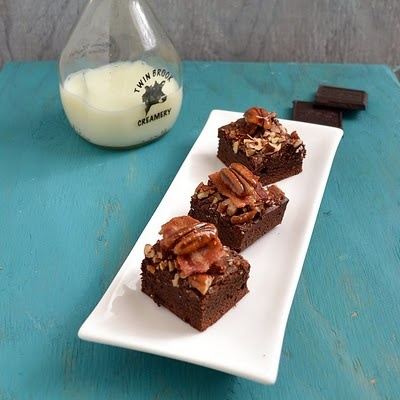 bacon-bourbon brownies with chipotle candied pecans