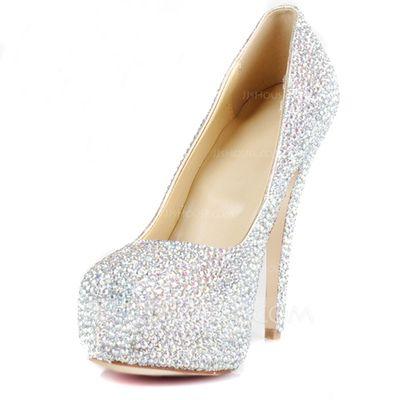 Escarpins - $83.49 - Caoutchouc Talon stiletto Escarpins Plateforme Bout fermé avec Strass chaussures (085026495) http://jjshouse.com/fr/Caoutchouc-Talon-Stiletto-Escarpins-Plateforme-Bout-Ferme-Avec-Strass-Chaussures-085026495-g26495