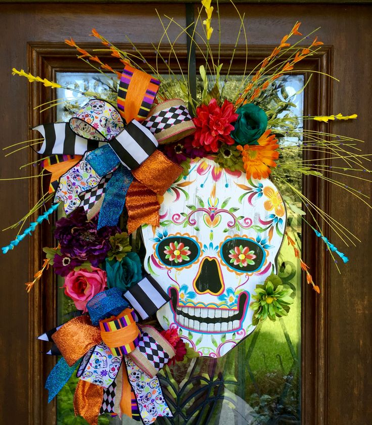 Day of the Dead sugar skull wreath loaded with color for halloween   www.facebook.com/southernsass