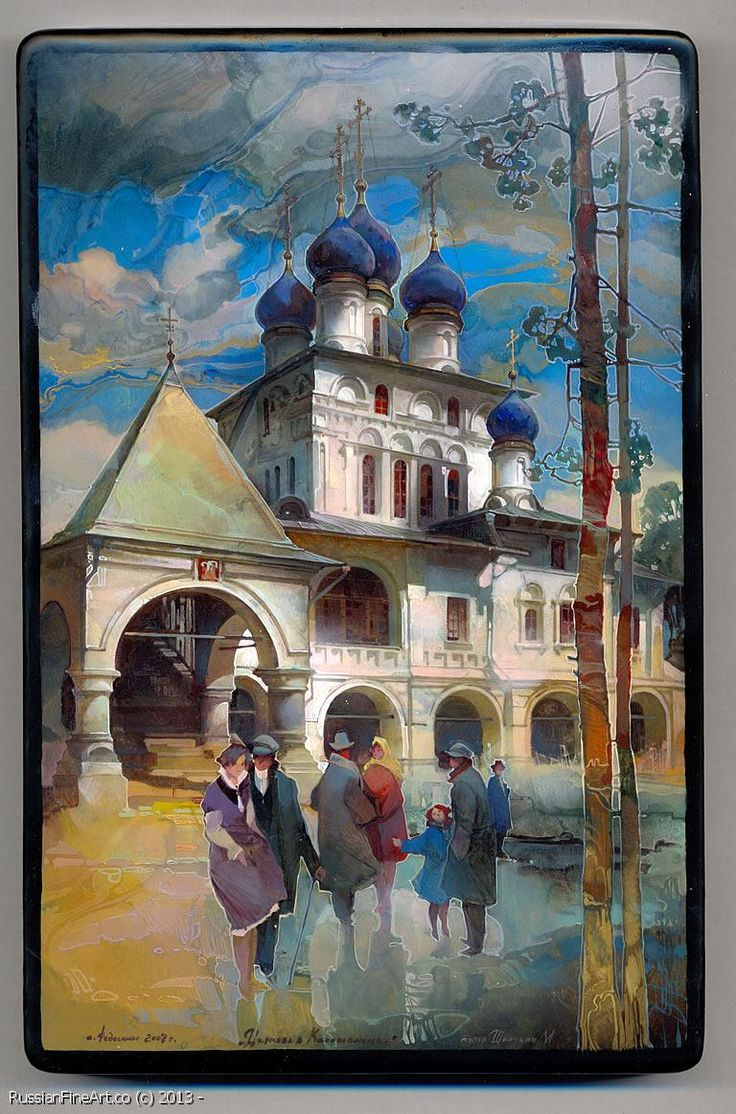 "Mikhail Sheluhin ""The Church In Kolomnenskoe"" - box, Fedoskino lacquer technique. $2320.00 (Version Two)"