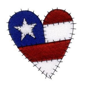 Flag Heart Embroidery