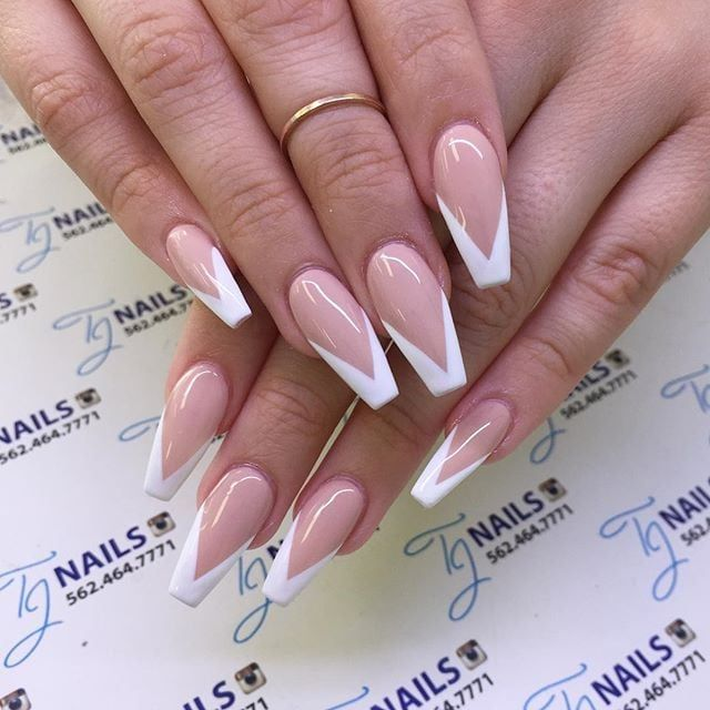 Reverse V French Manicure French Tip Acrylic Nails White Tip Acrylic Nails French Acrylic Nails