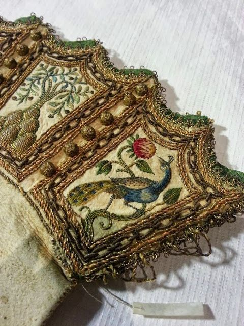 17th century embroidery at the Royal Armoury in Sweden - Gloves with Multi-coloured silk embroidery and goldwork.