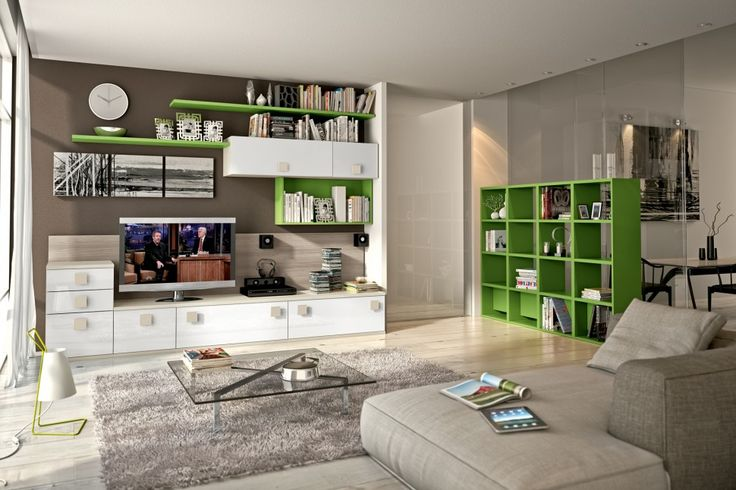 Living Room Wall TV And Storage Unit In White And Green Color Paint With  Low Console Cabinet And Drawers, Wall Mo... | Pinterest | Lu2026