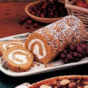 This is awesome and you can make 2 rolls with one can of pumpkin.  I use pecans rather than walnuts.  I have also dried sweet potatoes in place of pumpkin and that was great too!