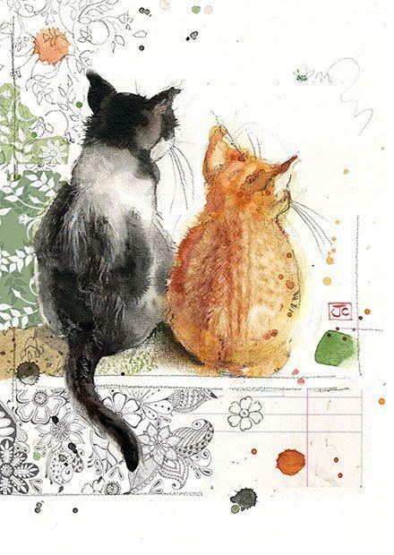 Акварельные иллюстрации животных, кошки