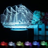 DÉCORATIONS DE PLAGE Wish | Touch Switch Usb 3d  Boat Night Light 7 Color Change Desk Table Bedside Lamp Gift