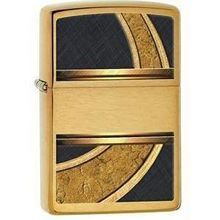 Zippo Gold And Black Brushed Brass Finish #28673 Oil Lighter