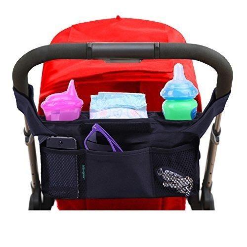 #1 Best Quality Lebogner Luxury Stroller Organizer Stroller Accessories Universal Black Baby Diaper Stroller Bag Stroller Cup Holder Fits Most Strollers.