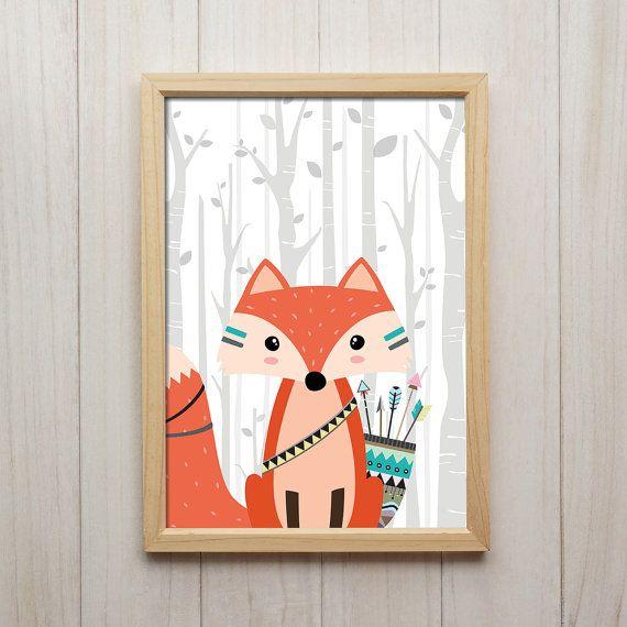 Tribal Fox Nursery Wall Art