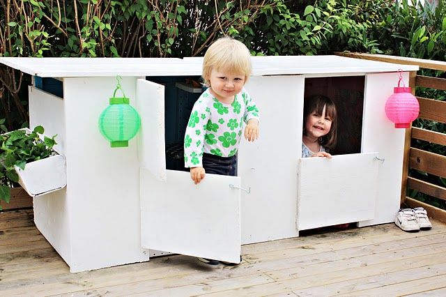 a diy cardboard playhouse that will keep the kids occupied for hours