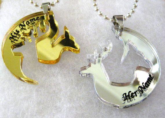 Custom engraved boyfriend girlfriend deer head heart hunting southern love buck doe his hers promise pendant necklace gift set / Gold mirror