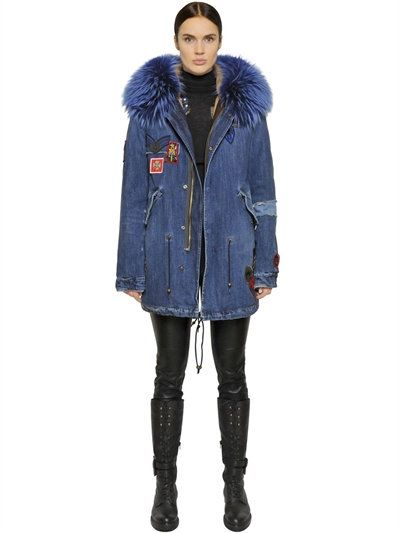 COTTON DENIM PARKA WITH MURMANSKY FUR