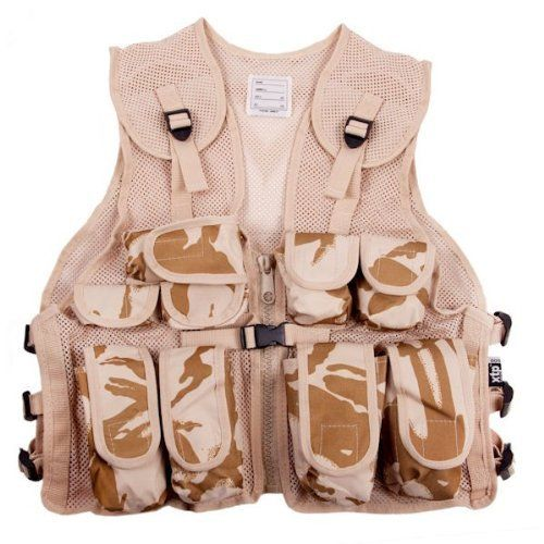 Kids Desert Camouflage Assault Vest - Fits Ages 5-14 by KAS. $18.97. 600D PVC. 9 Pockets. Fits Ages 5 - 14. Adjustable Straps. Kids Desert Assault Vest. When you're out on a mission, all your survival items must be carried with you. This Kids Desert Camo Assault Vest has 9 pockets so you can carry enough provisions to last even the longest of missions.