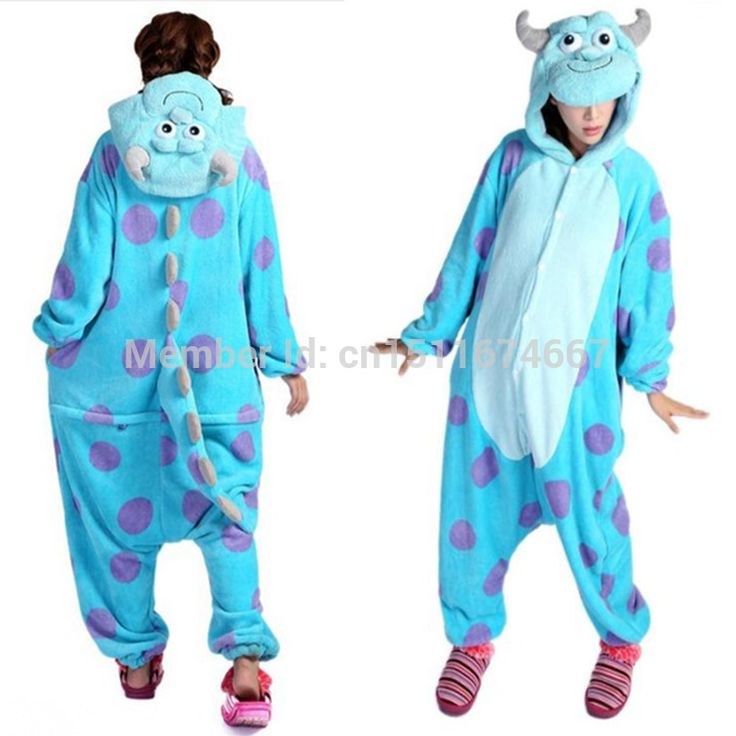 "Thick Soft Flannel James P. "" Sulley "" Sullivan Onesie Pajama Monsters Sully Costume Halloween Carnival Party Clothing"