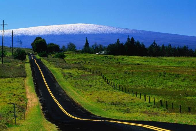 The Saddle Road connecting east and west Hawaii, with Mauna Loa in the distance.