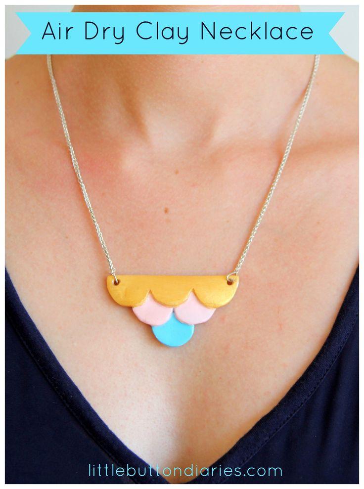 diy air dry clay necklace
