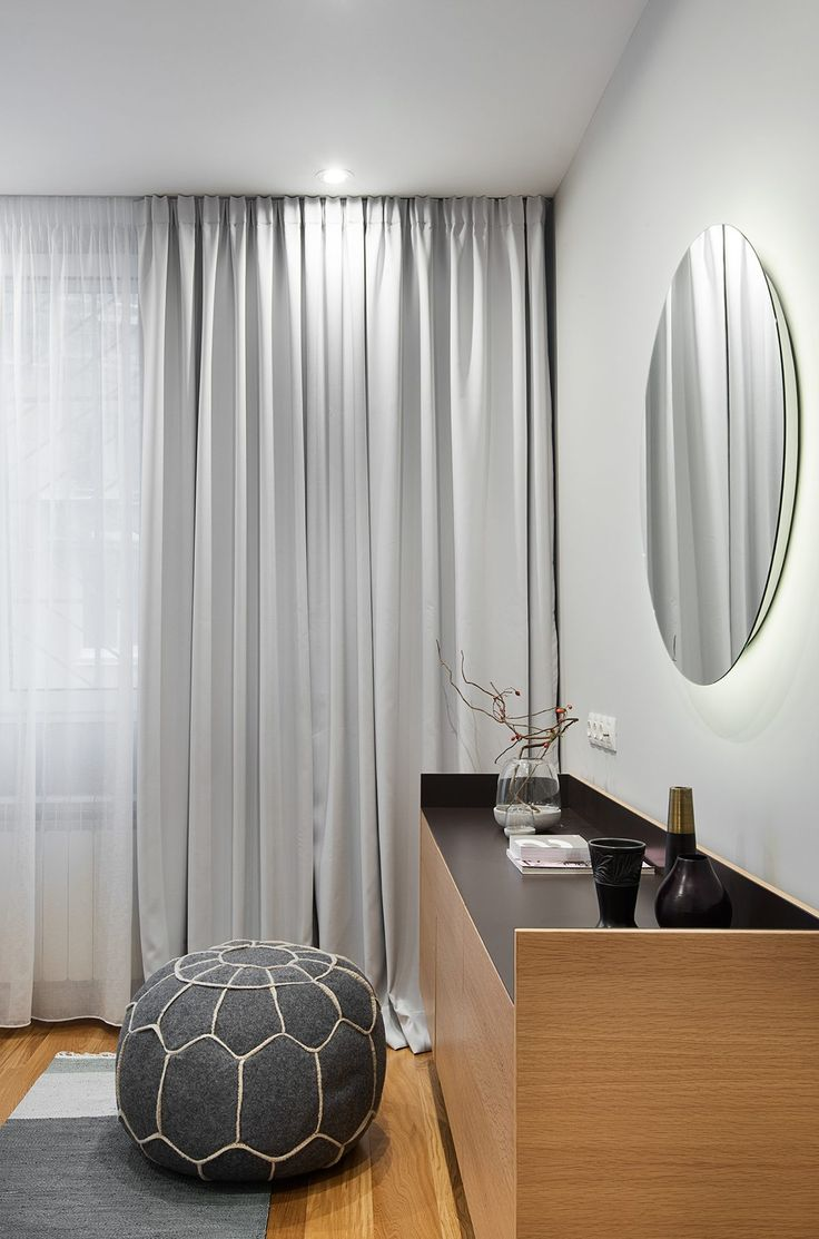 Mid Century Inspired Apartment In Lozenetz Bulgaria Layered Light Gray Curtains With Sheers