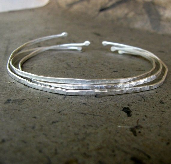 Skinny Sterling Silver Bangle Set of 3 by TwiningVineDesigns, $39.00