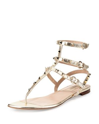 Rockstud Metallic Ankle-Wrap Thong Sandal, Platino by Valentino at Neiman Marcus. $975 USD