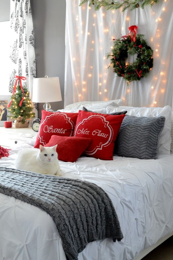 Romantic Christmas Bedroom  ... like the idea of lights behind material at the bedhead