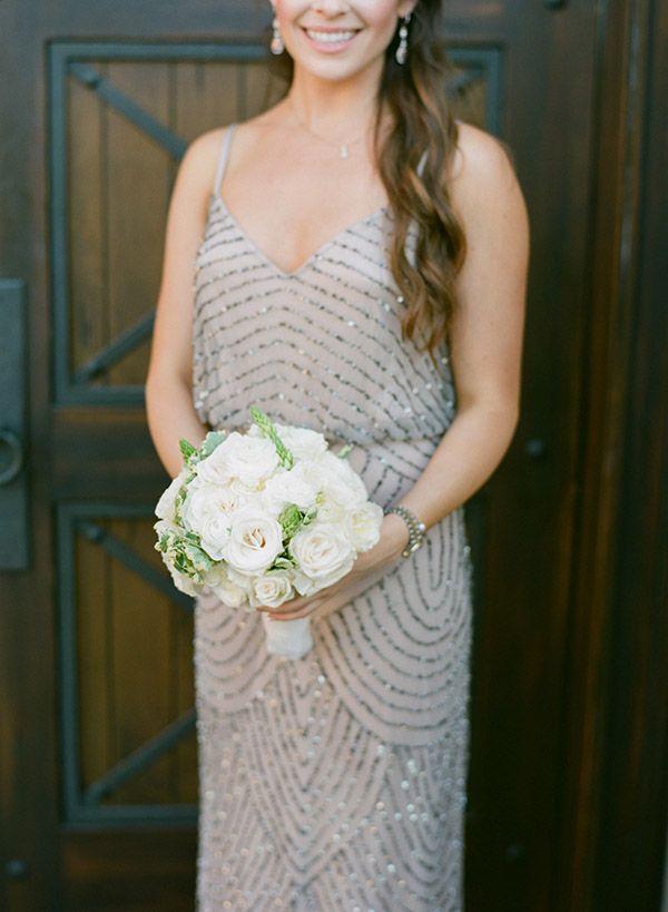 beaded bridesmaid dress with simple bouquet #bridesmaid #beadeddress #weddingchicks http://www.weddingchicks.com/2014/03/11/newport-beach-glittery-pink-wedding/