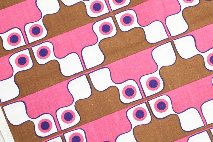 Vintage Stoffe - 70er Stoff pink braun 50x120 cm Vintagestoff - ein Designerstück von StoffReich bei DaWanda