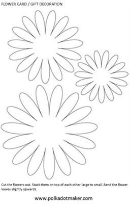 Paper Flower Template: Use this paper flower template to create the prettiest flowers to decorate cards and gift boxes.  Cut the templates out and use them to cut paper flowers