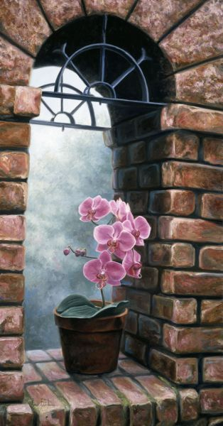 Delicate Orchids by Lucie Bilodeau ~ brick archway