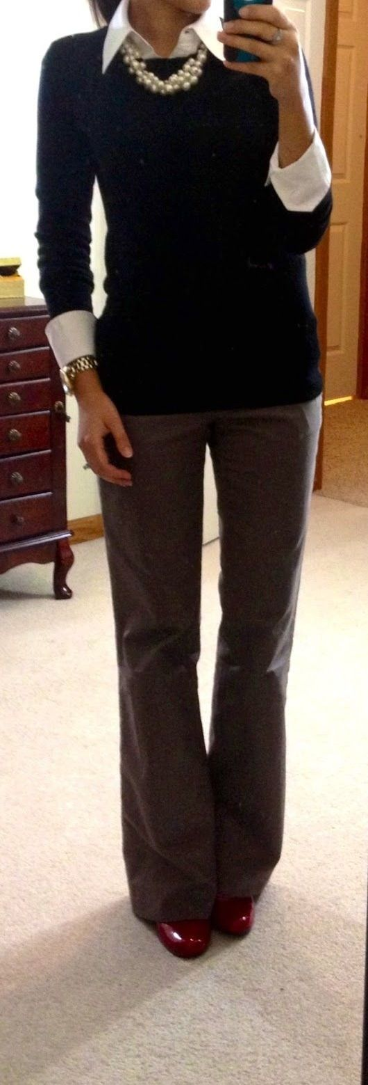 Dear Stitch Fix Stylist, Perfect work look, but I don't like when the layered shirt/sweater get too bulky when worn together.