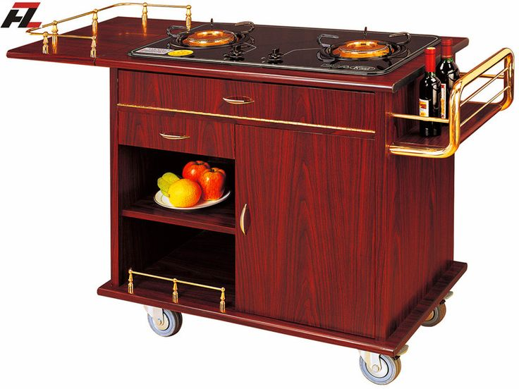 Double Gas Stoves Flambe Trolley with Steel Side Condiment Shelf