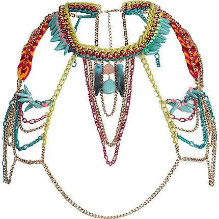 Turquoise multicoloured body chain - body chains / accessories - jewellery - women