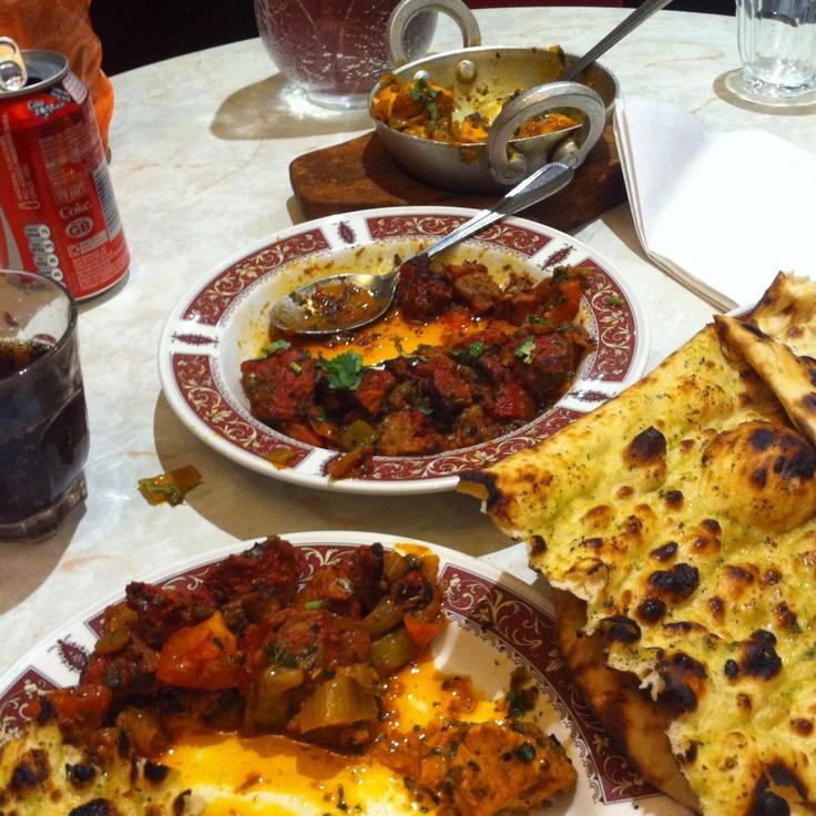 Kebab Mahal - my favourite ethnic! Spicy and delicious. Chicken tikka bhuna, chicken tikka masala and garlic naan.