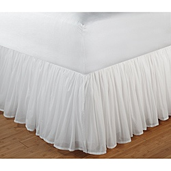 @Overstock - With an 18-inch drop, this extra long bed skirt features a sheer cotton voile drop with separate lining in a matching color for opaque coverage. The voile fabric is softly gathered for a tailored look that will perfectly complement all linens.      http://www.overstock.com/Bedding-Bath/Cotton-Voile-White-18-Inch-Drop-King-Bedskirt/6470895/product.html?CID=214117 $49.99