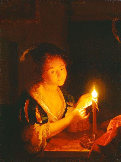 Seit der barocken Bildsymbolik denken wir bei Kerzen an unsere Sterblichkeit. Mit dem Kerzenlicht feierte die Barockmalerei deswegen immer auch das Leben. Godefridus Schalcken: Brieflesendes Mädchen bei Kerzenlicht, um 1689, Öl auf Eichenholz