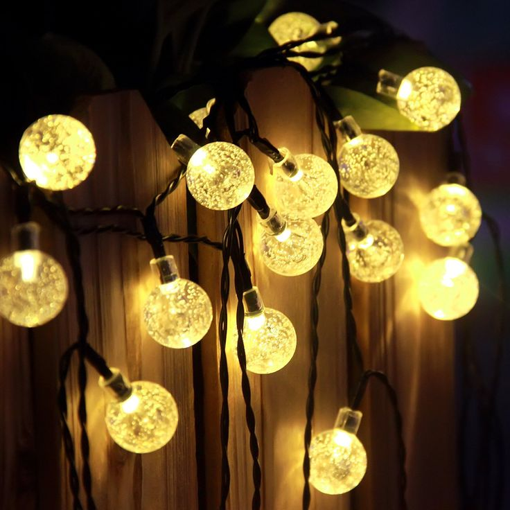 Outdoor solar string lights progreen 40 led crystal ball globe lights waterproof solar powered globe fairy string lights for christmas wedding
