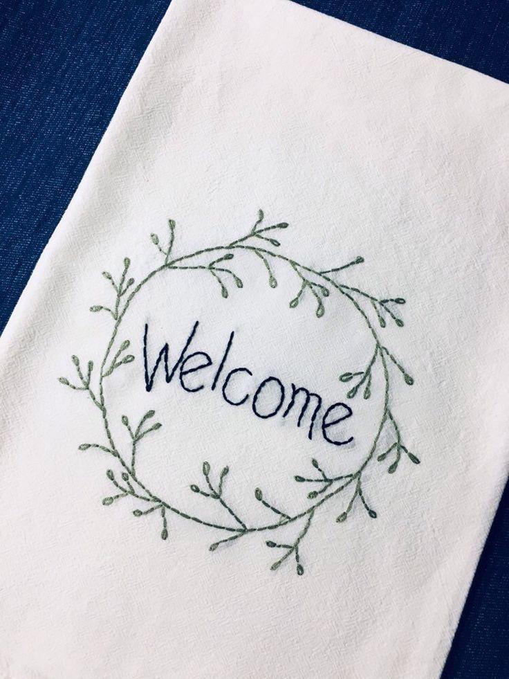 Farmhouse flour sack towel welcome housewarming hostess gift farmhouse kitchen decor hand embroidered tea towel,kitchen hostess gift