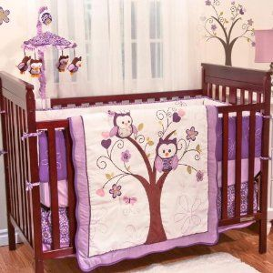 Plum Owl Meadow 4 Piece Baby Crib Bedding Set by Baby's First