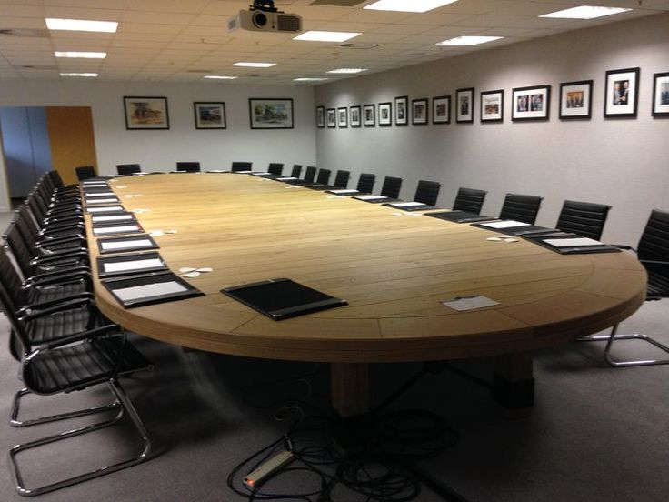 Hand made by Terry Lynch a 3m x 10m solid Oak boardroom table - conference table made for a local company in Andover Hampshire,