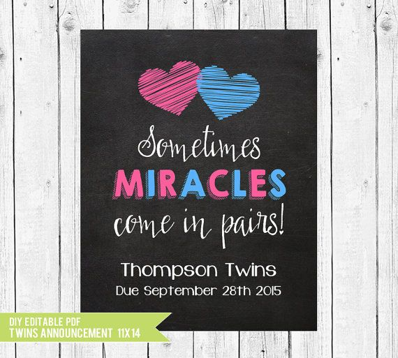 Twins Pregnancy Announcement, Sometimes miracles come in pairs // (14x11) - Custom pregnancy reveal // DIY edit with ADOBE READER
