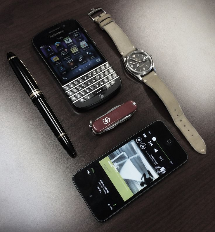 - Montblanc Meisterstuck 149  - Piece-of-shit Blackberry Q10  - Victorinox Tinker  - iPod with John Coltrane playing  - One-of-a-kind Rolex Date Explorer on Hodinkee leather strap