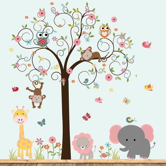Pegatinas de calcomanías de pared de vinilo, arte de pared de Swirk árbol, chicas vivero arte, árboles de selva vinilo, etiquetas de vinilo, bebé vivero arte